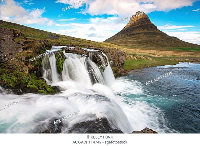 Sun Paints the side of Kirkjufell mountain in the Snæfellsnes peninsula, situated to the west of Borgarfjörður, in western Iceland