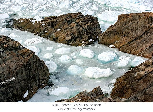 Rocky Shoreline and sea ice - Cape Bonavista, Bonavista, Newfoundland, Canada