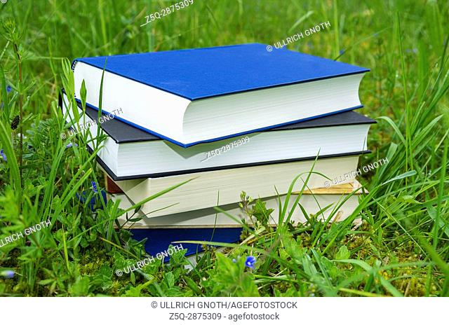 Pile of various books in the fresh green grass