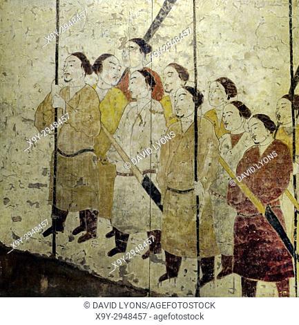 Ancient mural painting of the Honour Guard. Detail. Northern Qi Dynasty. From the Tomb of Xu Xianxiu at Wangjiafeng, Taiyuan City, Shanxi, China