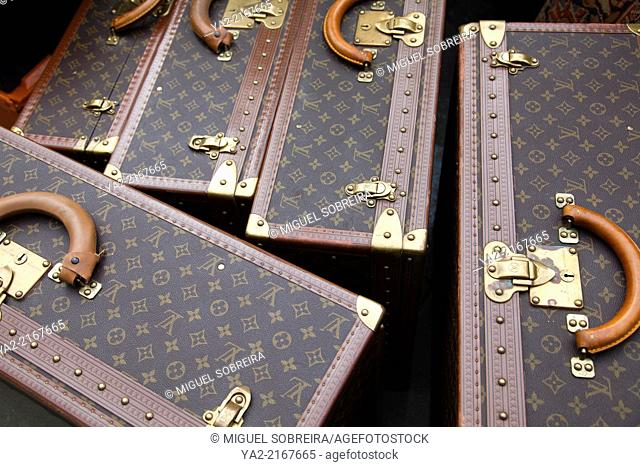 Large Louis Vuitton Suitcases for Sale at Portobello Market on Ladbroke Gardens - London W11 - UK