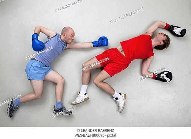 Man getting knocked out in boxing fight
