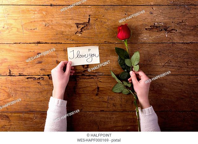 Woman's hands holding red rose and a notice 'I Love You'