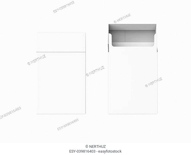 Empty Pack of Cigarettes Isolated on white background. 3D render