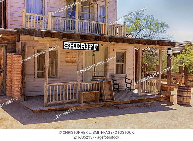 Sheriff's office building at the Old Tucson Film Studios amusement park in Arizona
