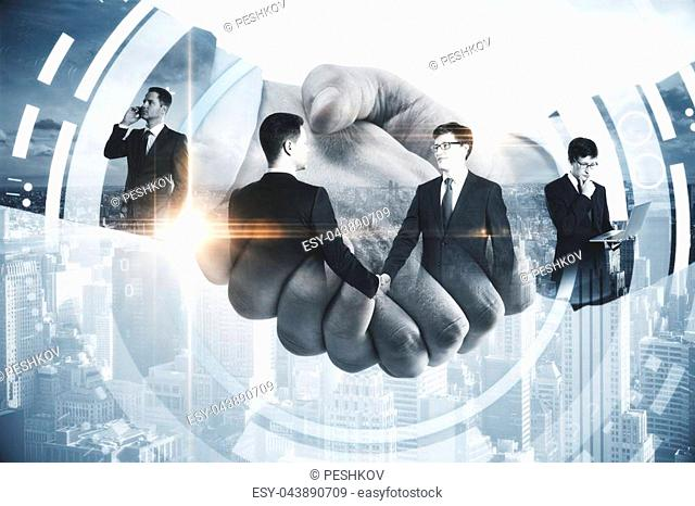 Close up of handshake on city background with digital pattern. Business technologies concept. Double exposure