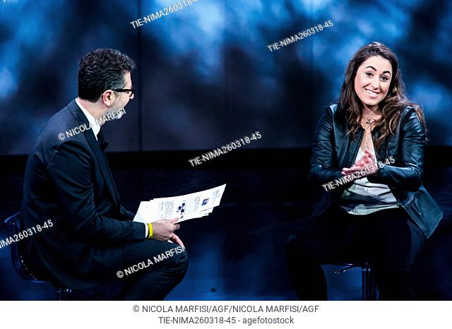 Fabio Fazio, Sofia Goggia, Olympic champion skier and world cup winner during the tv show Che tempo che fa, Milan, ITALY-25-03-2018