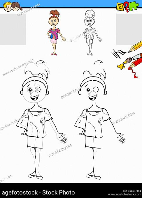 Cartoon Illustration of Drawing and Coloring Educational Activity for Children with Funny Girl Character