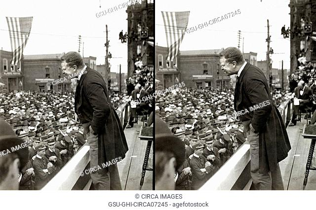 U.S. President Theodore Roosevelt Speaking to Crowd, Asheville, North Carolina, USA, Stereo Card, September 9, 1902