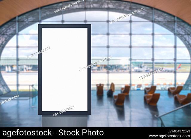 Digital media blank white screen modern panel, signboard for advertisement design in airpost, gallery. Mockup