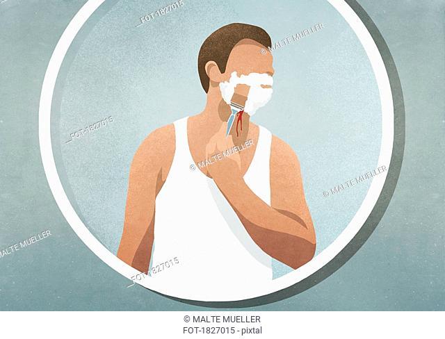 Man shaving his face, bleeding in mirror