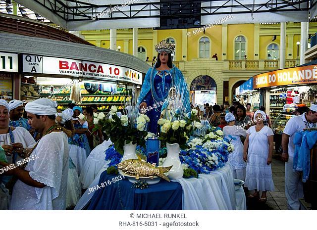 Christian procession in the public market hall in Porto Alegre, Rio Grande do Sul, Brazil, South America