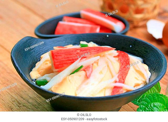 Steamed eggs with crab sticks