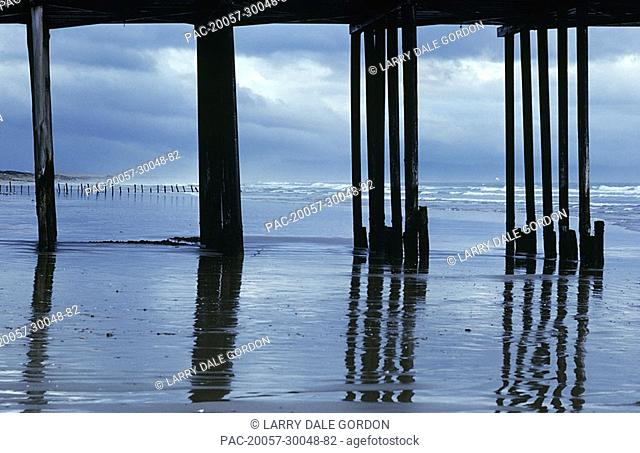 California, Pismo Beach, Reflections on wet shoreline framed by silhouetted pier