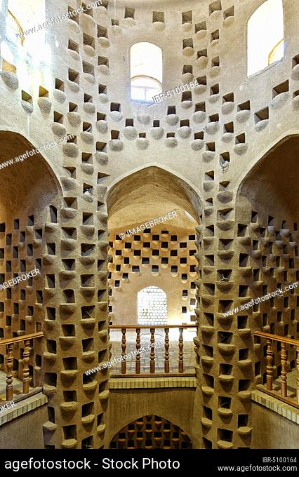 Interior of a traditional pigeon tower, Meybod, Yazd Province, Iran, Asia