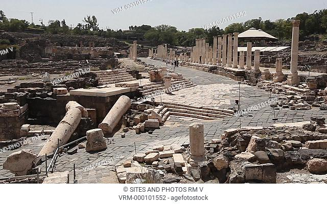Exterior, HA, LS, Locked Down Shot, view of the Archaeological site at the foot of the Mound, looking southwest. Seen is the City Center with its colonnaded...