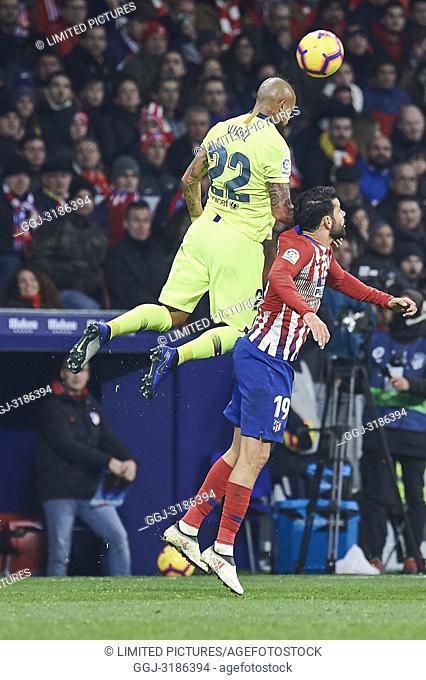 Arturo Vidal (midfielder; Barcelona), Diego Costa (forward; Atletico Madrid) before La Liga match between Atletico de Madrid and F.C