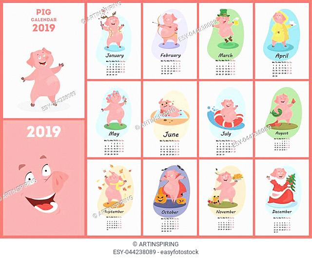 Pig calendar for 2019. Cute month calendar with funny pig. Week starts on monday. Vector illustration in cartoon style