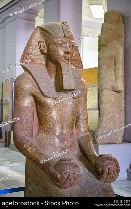 Cairo, Egyptian Museum, kneeling statue of Hatshepsut, one of the rare women who became king of Egypt. Granite, from her temple in Deir el Bahari