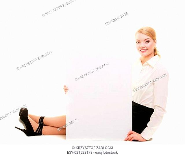Bussines woman with blank presentation board banner sign