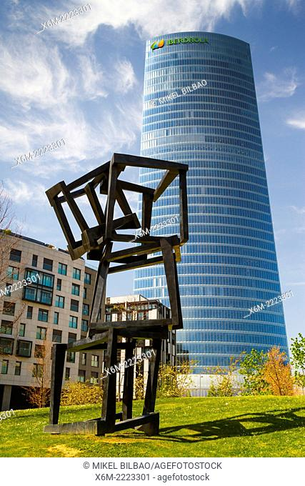 """Iberdrola Tower and """"""""Chaos Nervion"""""""" sculpture. Bilbao, Biscay, Basque Country, Spain, Europe"""