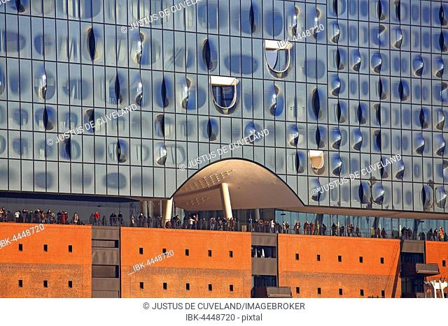 Elbphilharmonie, Elbe Philharmonic Hall with visitors on the observation deck, HafenCity, Port of Hamburg, Hamburg, Germany