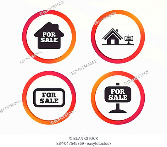 For sale icons. Real estate selling signs. Home house symbol. Infographic design buttons. Circle templates. Vector