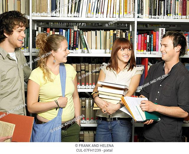 Group of young people in a library