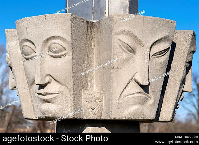 Germany, Saxony-Anhalt, Magdeburg, faces on a pillar of light, built in 1927 on the occasion of the theater exhibition