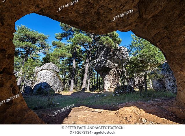 Eroded limestone outcrops in La Ciudad Encantada, The enchanted City, Park in the Serrania de Cuenca, Castilla-la Mancha, Central Spain