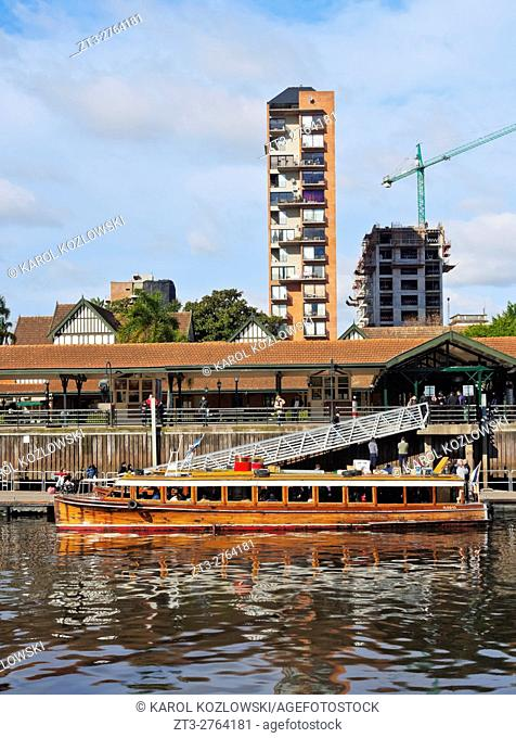 Argentina, Buenos Aires Province, Tigre, Vintage mahogany motorboats by the Fluvial Station on the Tigre River Canal
