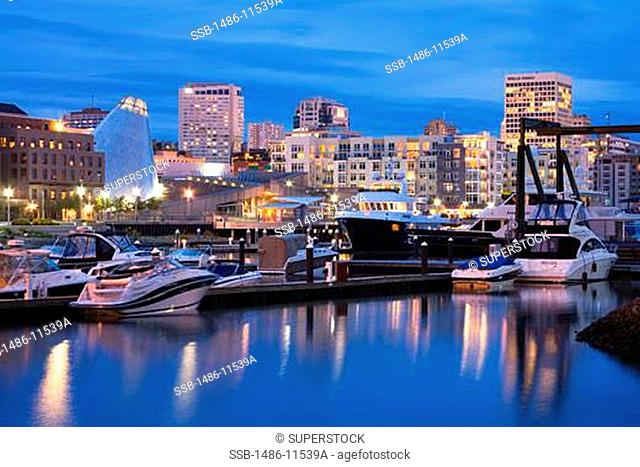 Yachts at a dock, Foss Landing Marina, Tacoma, Pierce County, Washington State, USA