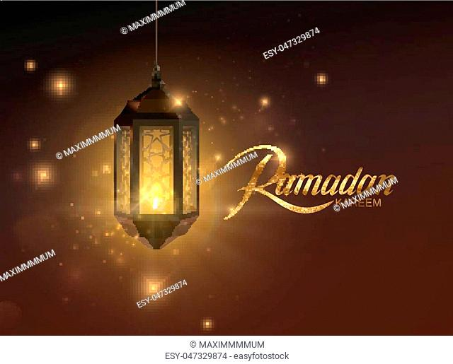 Ramadan Kareem. Vector islam religious illustration of glowing arabic lantern, shiny particles and golden label. Muslim holy month Ramadan postcard design