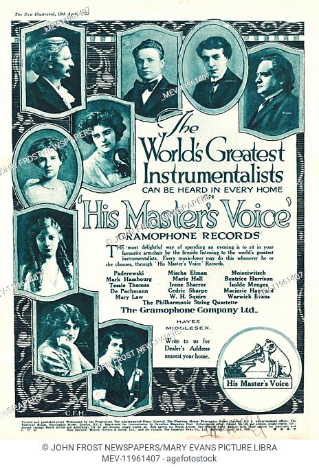1919 UK Magazine His Master's Voice Gramaphone Records