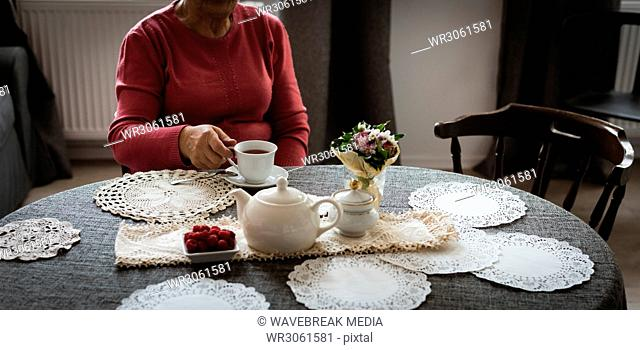 Senior woman having cup of tea in living room