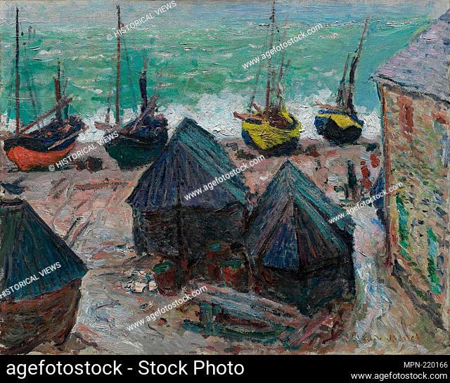 Boats on the Beach at Étretat - 1885 - Claude Monet French, 1840-1926 - Artist: Claude Monet, Origin: France, Date: 1885, Medium: Oil on canvas