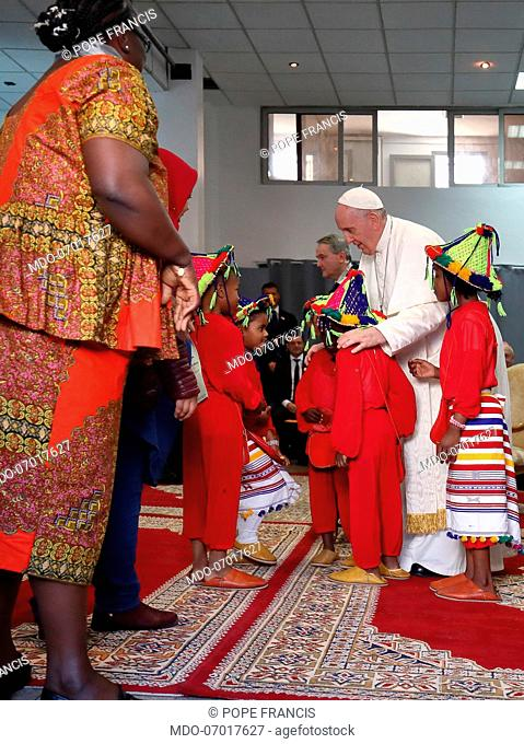 Pope Francis meets the migrants at the premises of diocesan Caritas. Rabat (Morocco), March 30th, 2019