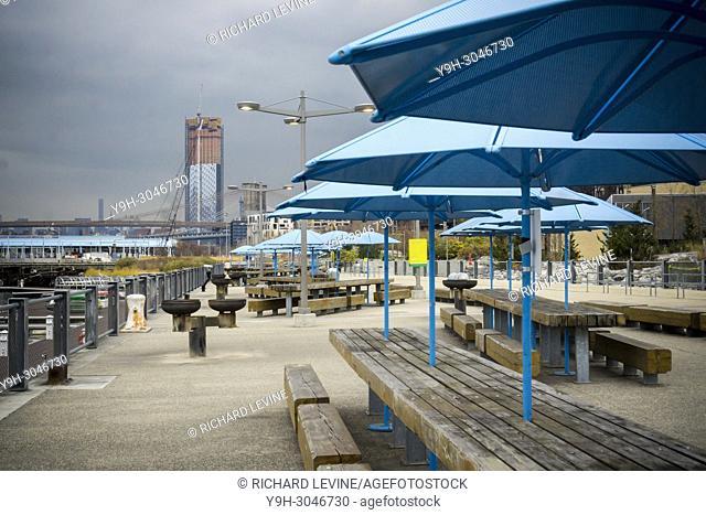 Picnic area in Brooklyn Bridge Park in New York on Sunday, December 3, 2017