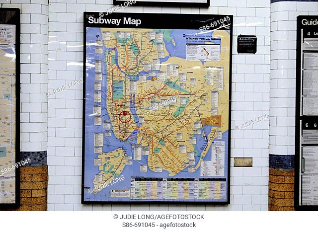 Framed Subway System map, mounted on wall of Astor Place Station, Number 6 Train, New York City Transit Authority Subway Station. USA