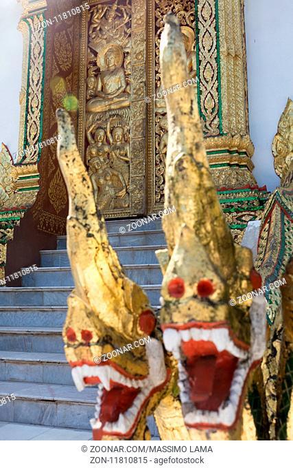 November 27,2016,Luang Prabang, Laos. Decorations and statues in temple