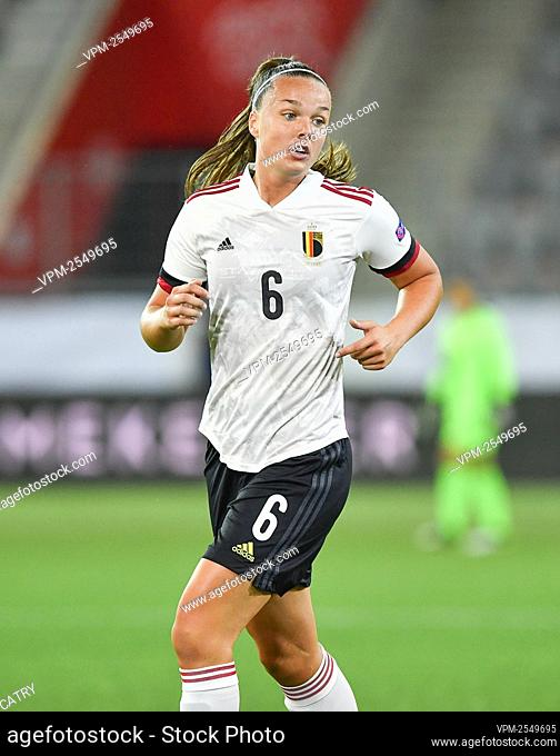 Belgium's Tine De Caigny pictured in action during a soccer game between Switzerland and Belgium's Red Flames, Tuesday 22 September 2020 in Thun