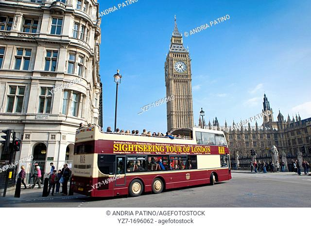 Sightseeing tour bus in Westminster, London
