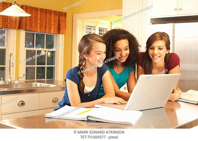 Friends looking at laptop