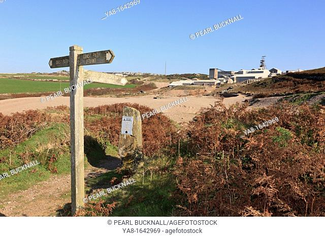 Pendeen, Cornwall, England, UK, Britain, Europe  Coastal path signpost at junction with footpath to Geevor Tin Mine