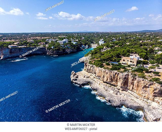Spain, Balearic Islands, Mallorca, Aerial view of bay Cala Santanyi