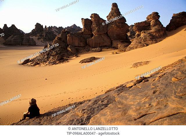 Libya, Jabal Akakus. Sculpted rocks