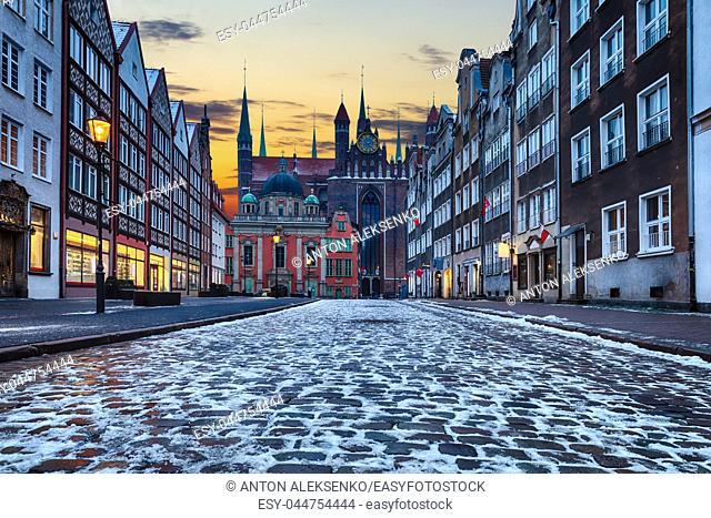 Mysterious medieval street in Gdansk, Poland, twilight view with no people