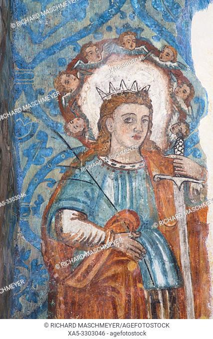 Original 16th Century Frescoes, Convent de San Bernadino de Siena, Built 1552-1560, Valladolid, Yucatan, Mexico