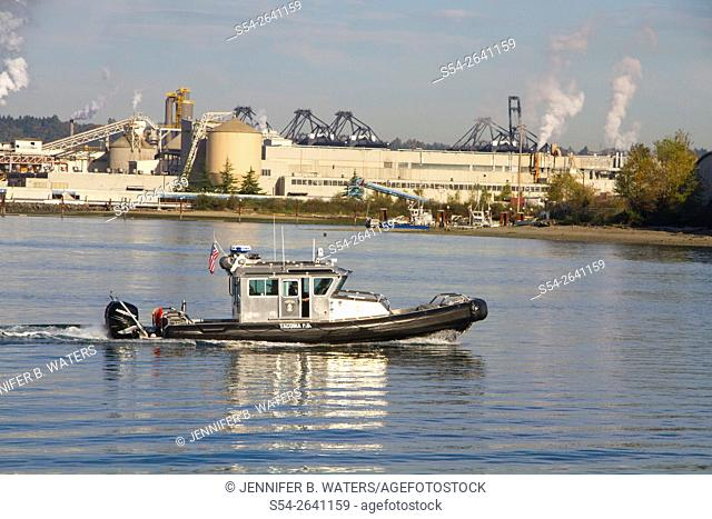 Police department boat in the Thea Foss Waterway, Tacoma, Washington, USA