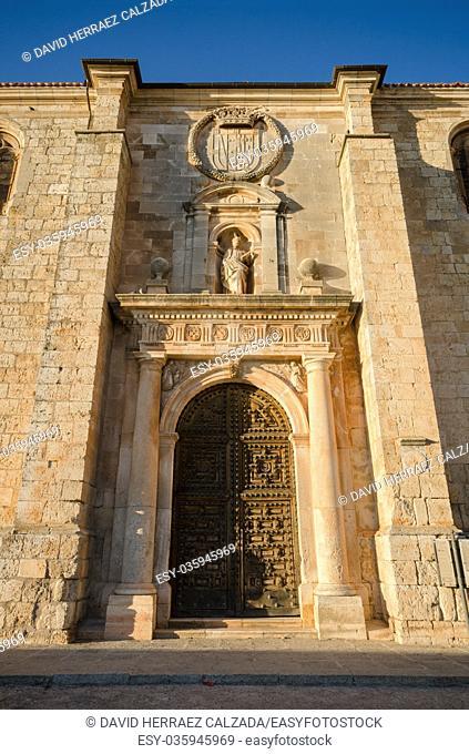 Detail of the facade and door of San Pedro church in Lerma, burgos, Spain